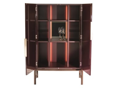 Lacquered wooden bar cabinet with integrated lighting KING'S CROSS | Bar cabinet