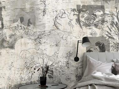 Papel de parede adesivo antialérgico ecológico de tecido estilo moderno KISS