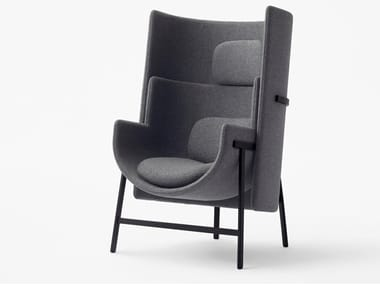 Fabric easy chair with armrests high-back KITE | Fabric lounge chair