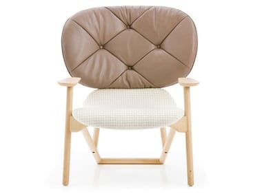Tufted easy chair with armrests KLARA | Tufted easy chair