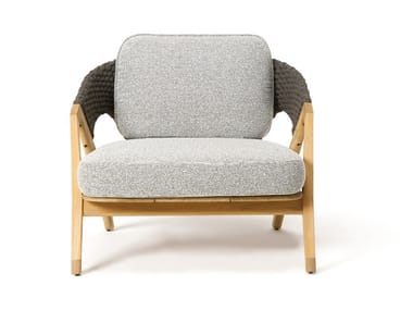Teak garden armchair with armrests KNIT | Garden armchair