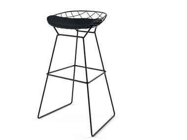 High sled base powder coated steel stool KOBI HIGH STOOL - N03