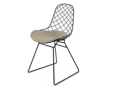 Sled base powder coated steel chair with integrated cushion KOBI SLEDGE - N01