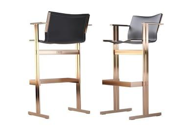High leather stool with back KOLB | Stool