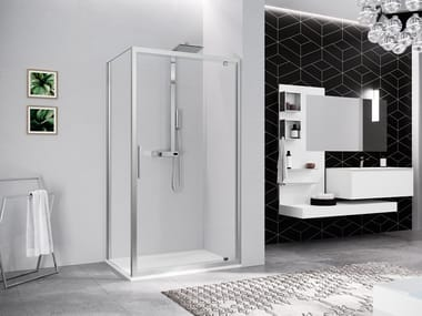 Box doccia angolare con porta pivotante KUADRA 2.0 G