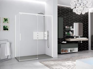 Box doccia angolare con porta scorrevole KUADRA 2.0 PH+FH