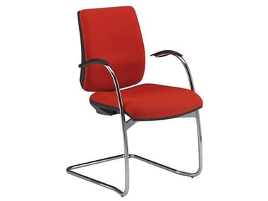 Cantilever fabric chair with armrests KUBIX | Cantilever chair