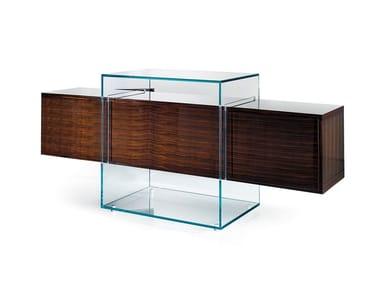 Madia in legno e vetro con ante a ribalta KUBO | Madia