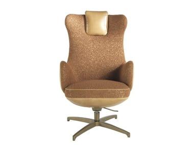 Swivel upholstered armchair with armrests KURGAN | Fabric armchair