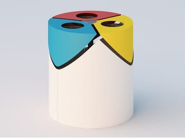 Metal litter bin for waste sorting KURT