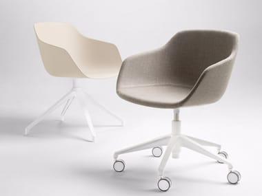 Fabric chair with 5-spoke base with castors KUSKOA BI | Fabric chair