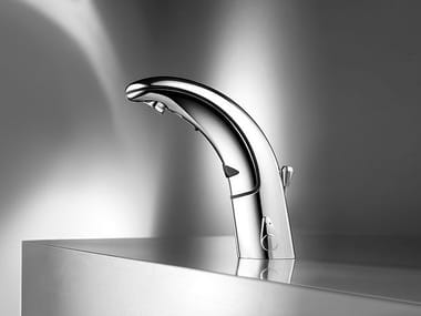 Infrared countertop stainless steel washbasin tap with flow limiter KWC IQUA | Washbasin tap