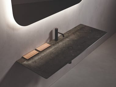 Rectangular single wall-mounted marble washbasin L 14