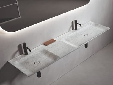 Double rectangular wall-mounted marble washbasin L 18