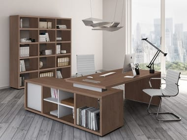 L-shaped office desk with shelves BRERA | L-shaped office desk