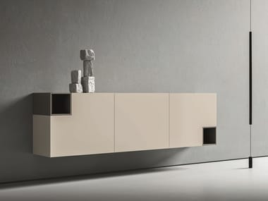 Modular lacquered suspended sideboard LEI | Composition L603