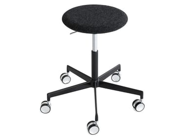 Swivel fabric stool with castors LAB | Stool with castors