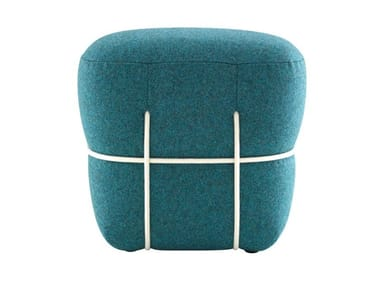 Upholstered rectangular fabric pouf LACE