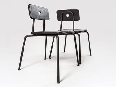Stackable lacquered steel and wood chair MILNE | Lacquered chair