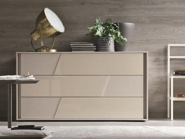 Lacquered chest of drawers with integrated handles KROSS   Lacquered chest of drawers
