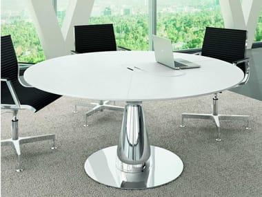 Tavolo da riunione in rovere con sistema passacavi METAR   Tavolo da riunione