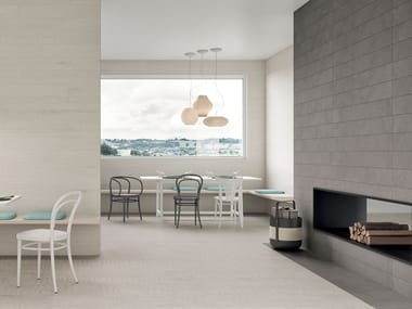 Porcelain stoneware wall/floor tiles with wood effect LAGOM COATED WHITE