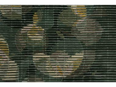 Rectangular fabric rug LAKE FLORAL GREEN