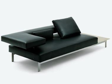Leather sofa with integrated magazine rack LAMA   Leather sofa