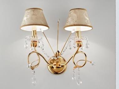 Lampada da parete a luce diretta in metallo con cristalli LUP   Lampada da parete