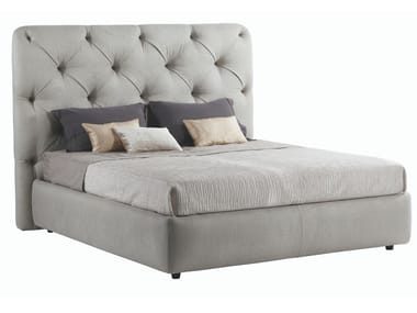 Leather double bed with tufted headboard LANCASTER