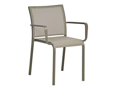 Stackable aluminium garden chair with armrests LAND