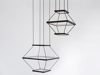 Lampada a sospensione a LED in legno massello LANTERN