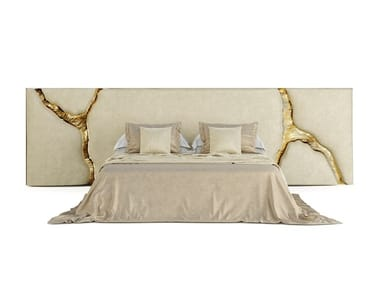 Upholstered velvet headboard LAPIAZ WHITE