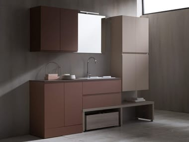 Lacquered laundry room cabinet with sink HITO | Laundry room cabinet
