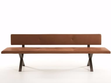 Upholstered leather bench with back LAX | Bench with back