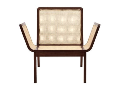 Rattan and oak easy chair with armrests LE ROI | Easy chair