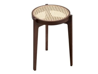 Stackable oak and rattan stool LE ROI | Stool