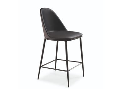 Leather kitchen stool with back LEA H65