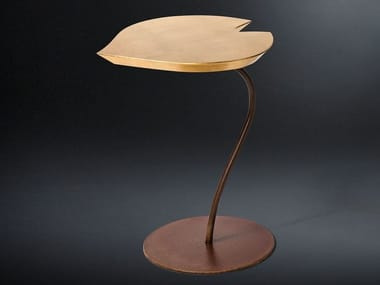 Iron and wooden side table LEAF | Coffee table