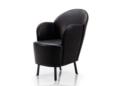 Leather armchair with armrests FLORET | Leather armchair