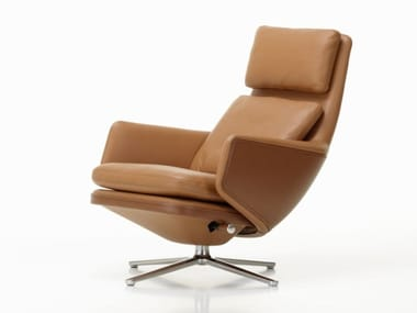 Recliner leather armchair with 4-spoke base with headrest GRAND RELAX | Leather armchair