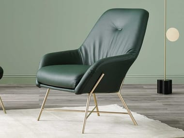 Upholstered leather armchair with armrests ASIA | Leather armchair