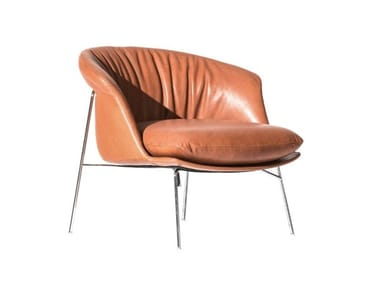 Upholstered leather easy chair with armrests MOON | Leather easy chair