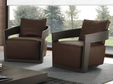 Leather armchair with armrests CINDY | Leather armchair