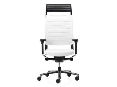 Cadeira executiva ajustável em altura de pele com apoio de cabeça EXPO 15 | Cadeira executiva de pele