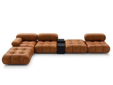 Tufted sectional modular leather sofa CAMALEONDA | Leather sofa