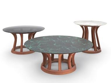 Tavolino con base in legno massello LEBEAU WOOD