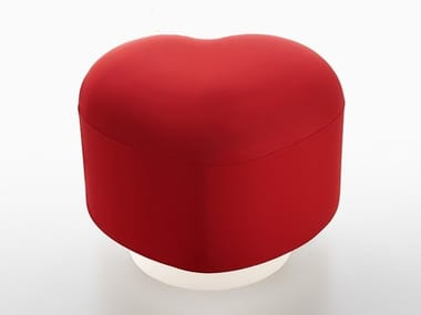Upholstered fabric pouf with light LEMPI