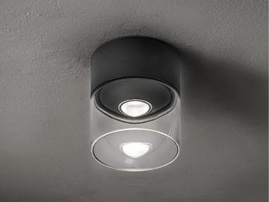 LED glass and aluminium outdoor ceiling lamp LENS | Outdoor ceiling lamp