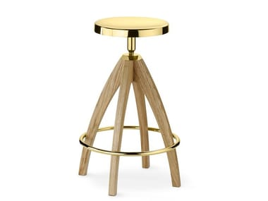 High height-adjustable brass stool LEPORELLO | High stool
